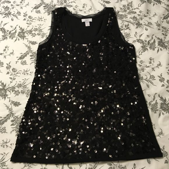 Sequin Tank Top This is a gorgeous black sequin tank top. Only worn once! LOFT Tops Tank Tops