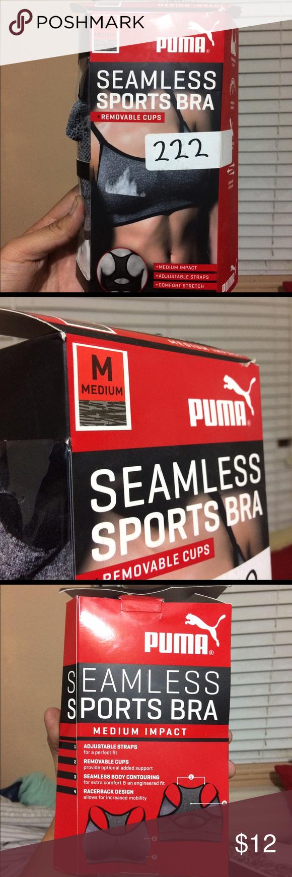 Women's Puma Seamless Sports Bra in Med New in box Puma Seamless Sports Bra in medium black/gray color Puma Intimates & Sleepwear Bras