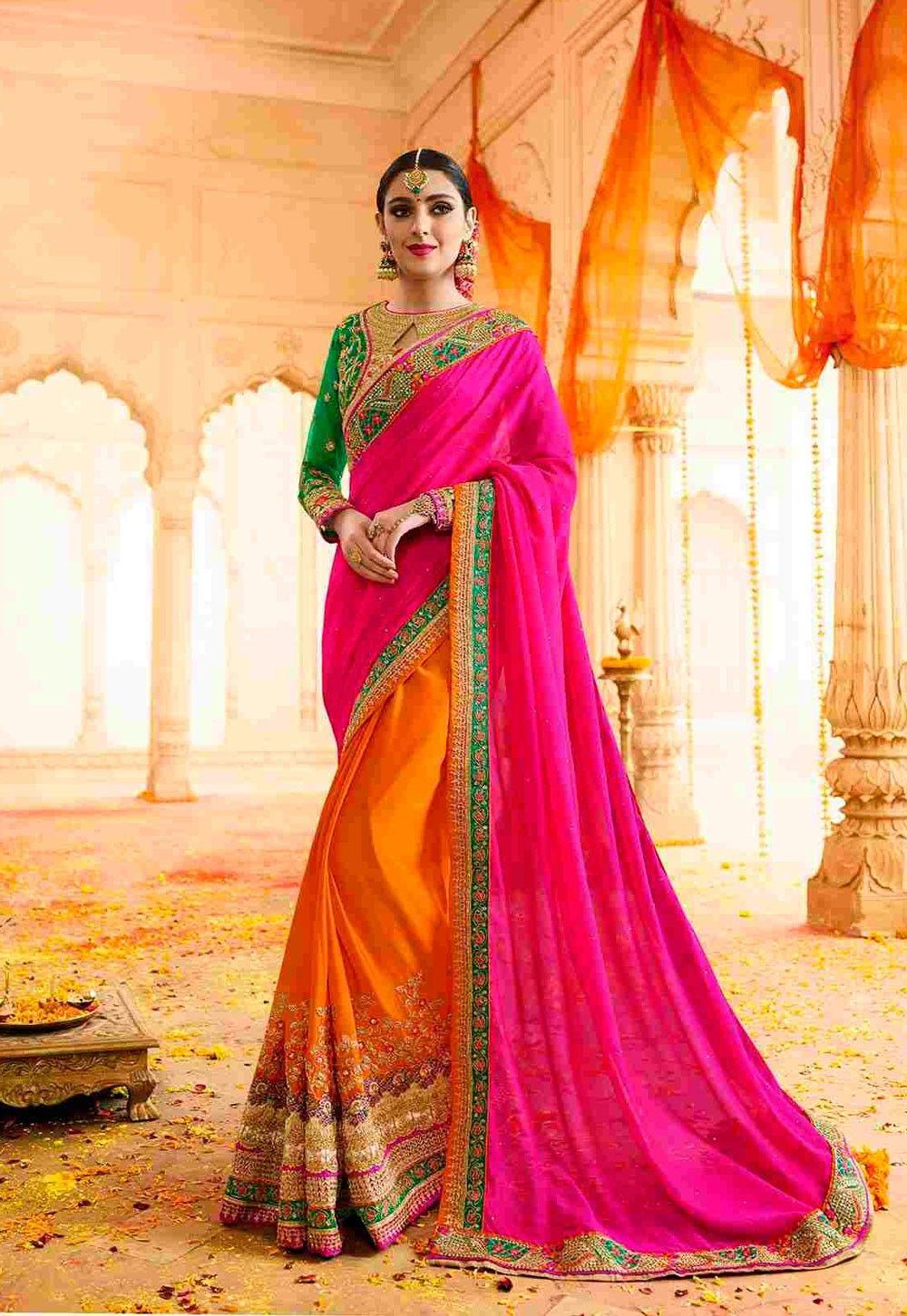 dff73e9e96796 gujarati saree store online PURE CHIFFON WEDDING WEAR INDIAN HEAVY  EMBROIDERED DESIGNER WORK SARE