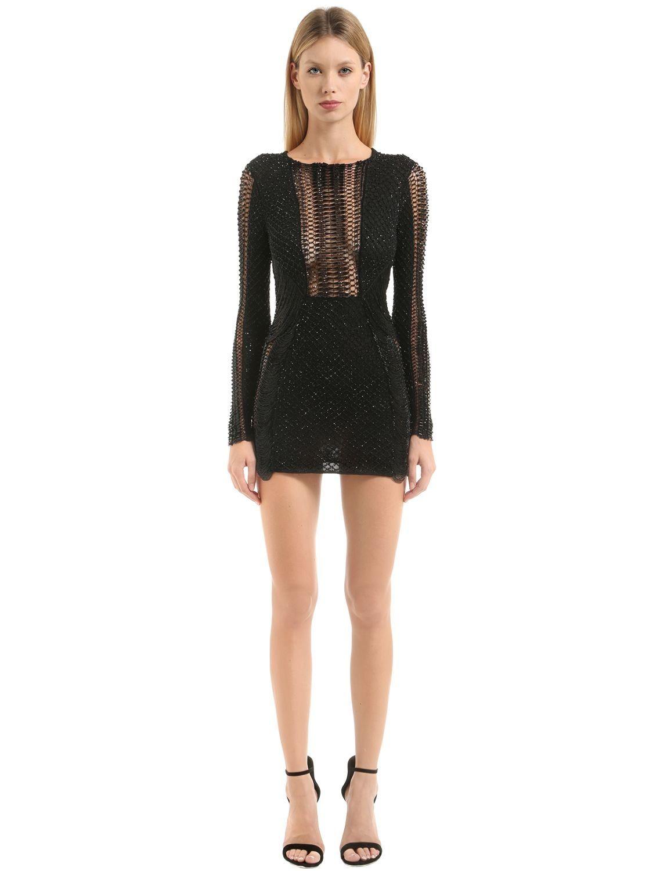 Julien macdonald embroidered dress black luisaviaroma round