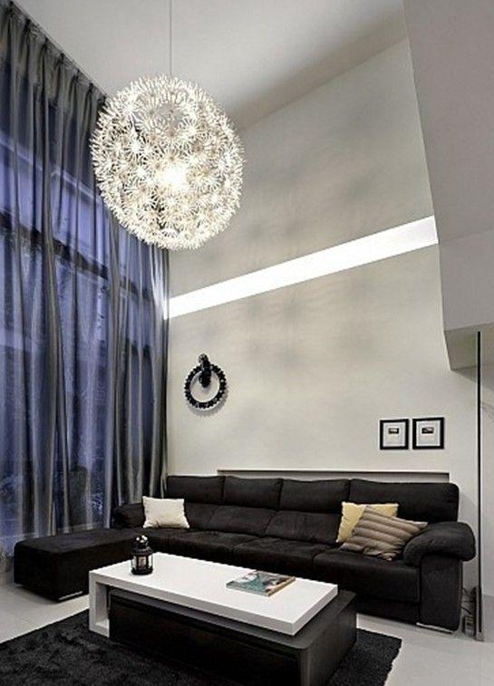 Blue Curtains And Black Sofa Living Room Interior Design Light