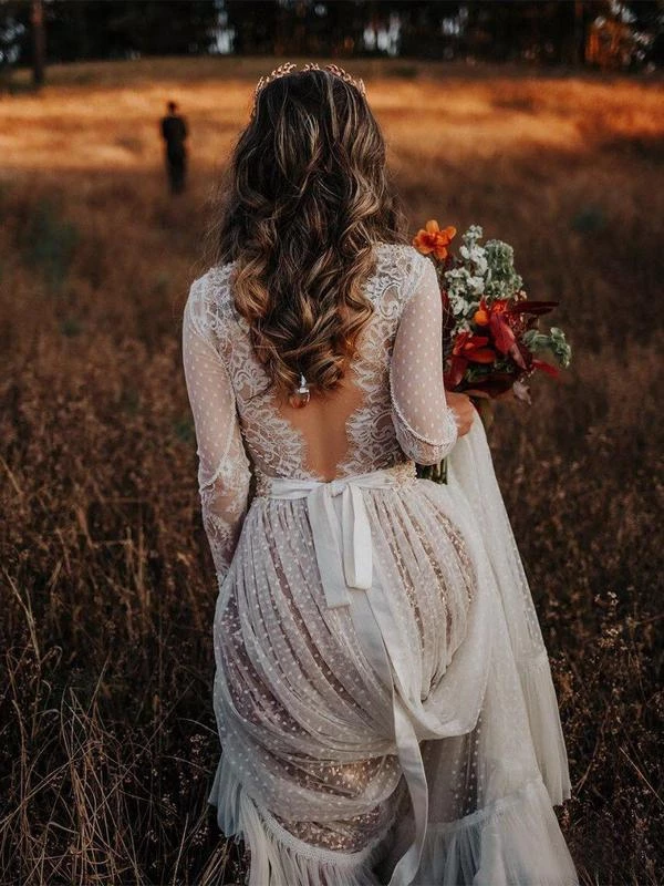 shirleydresses V neck See Through Lace boho Wedding Dresses Boho Rustic Bridal Dress 1