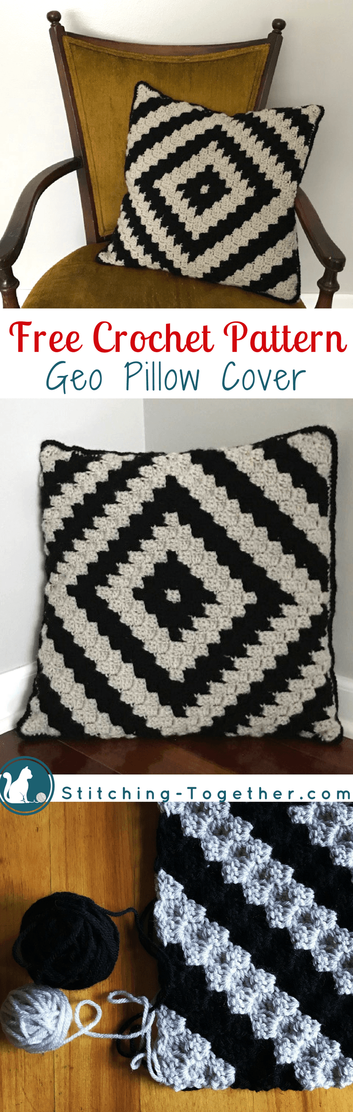 Free crochet pattern for a beautiful and trendy pillow cover. Easy corner to corner ( & Geo Crochet Pillow Cover   Free crochet Crochet and Pillows pillowsntoast.com