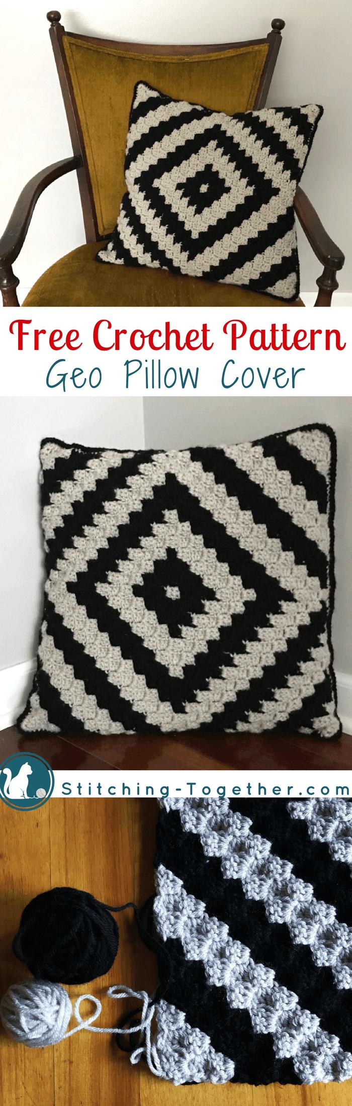 Geo Crochet Pillow Cover   Fundas de almohadas, Patrones de crochet ...