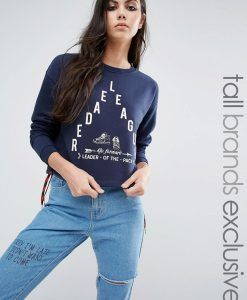 efb9c06eb598 Noisy May Tall Motif Cropped Sweater - Navy. Tall Clothing and Tall Fashion  for Tall Men and Tall Women at PrettyLong.com.