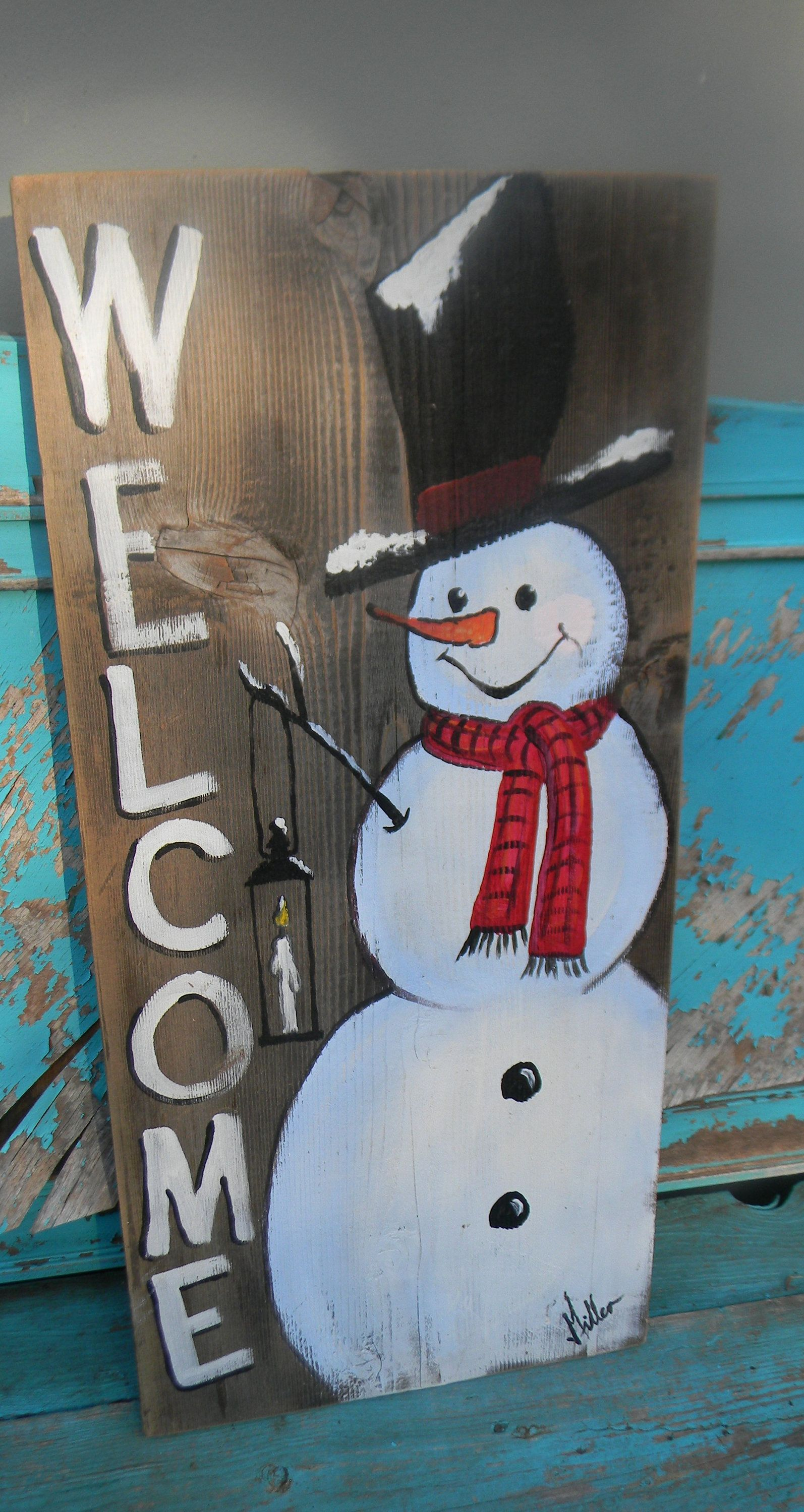 Snowman welcome wood sign hand painted front porch decor Christmas art Bill Miller of Miller's Art Cute snowman winter farmhouse decor art #porchpaintideas