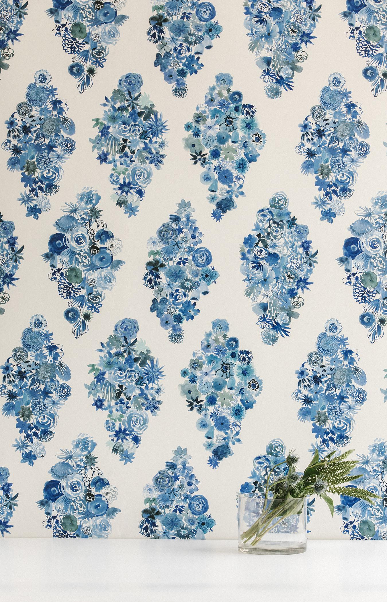 Flora Casbah Blue Floral Wallpaper Modern Floral Wallpaper