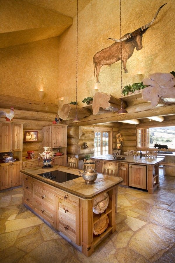 Image Of Stunning Faux Log Cabin Interior Walls Also Wooden Kitchen Island  With Drawers And Cabinets