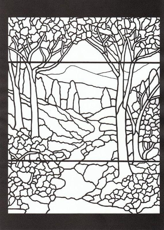 Книга: Tiffany Designs Stained Glass Coloring Book 1991 (витраж ...