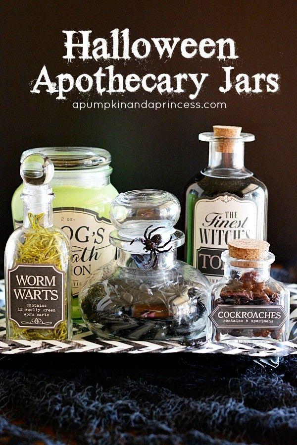 2014 Handmade Halloween Transparent Apothecary Jars - Mason jar for - hobby lobby halloween decor