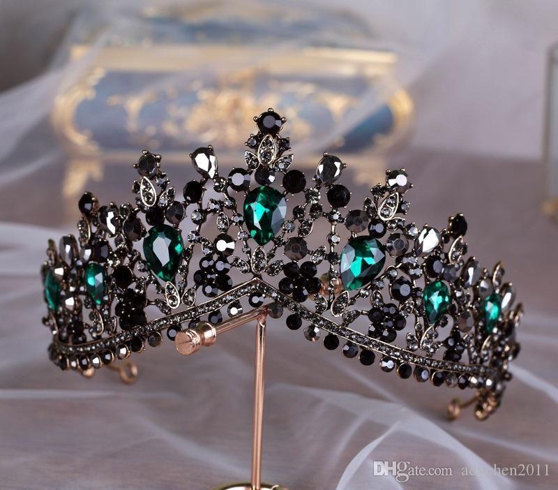 Handmade Luxury Baroque Bridal Crown Tiara Black Dark Green Crystal Headpieces Evening Hair Accessories For Brides Gothic Bridal #eveninghair
