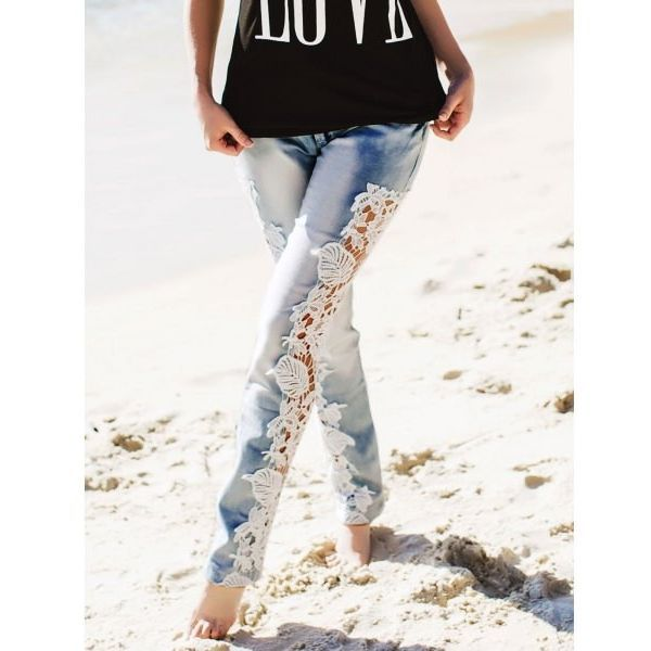 Hollow Out Lace Spliced Bodycon Pencil Jeans