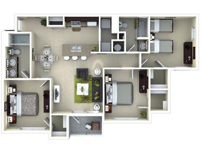 Tramonti 3 Bedroom 3d Floor Plan Theamalfi Www