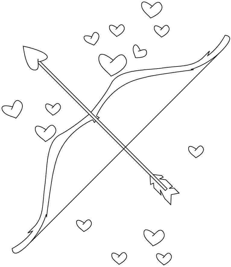 Cupids Arrow Valentines Day Coloring Valentines Day Coloring