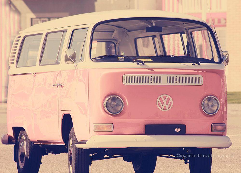 vw camper van photography pink vw bus travel photography whimsical vintage style retro. Black Bedroom Furniture Sets. Home Design Ideas