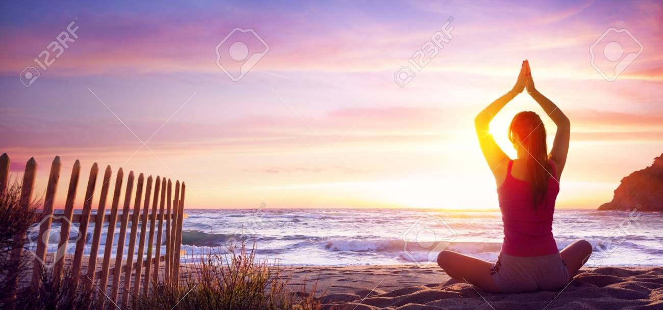 Woman Doing Yoga Fitness In The Beach At Sunset , #sponsored, #Yoga, #Woman, #Fitness, #Sunset, #Bea...
