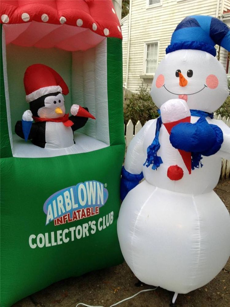 6/' Christmas Air Blown LED Inflatable Yard Decoration Snowman /& Penguins on Snow