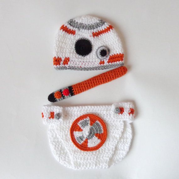 This BB-8 Droid hat and diaper cover are made from acrylic yarn ...