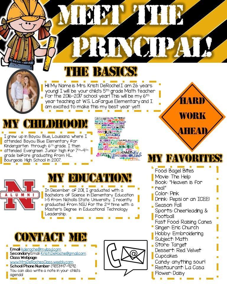 Meet The Principal Editable Construction  Construction Theme