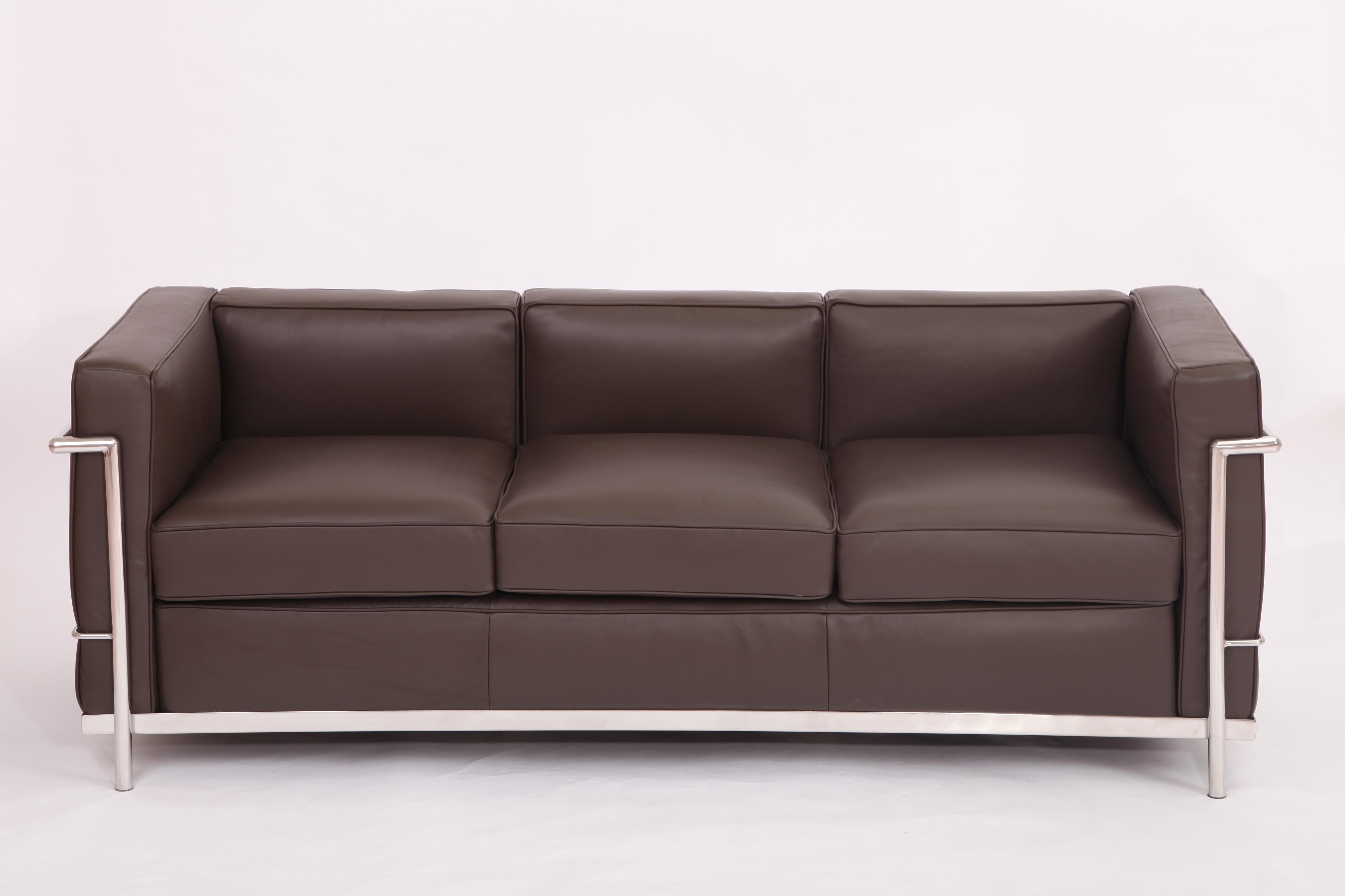 Chocolate full grain leather lc2 3 seater sofa replica le corbusier sofa and chair pinterest Le corbusier lc2 sofa