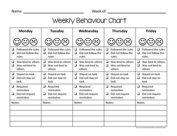 Weekly Behaviour Charts {Canada/Australia/UK English Version ...