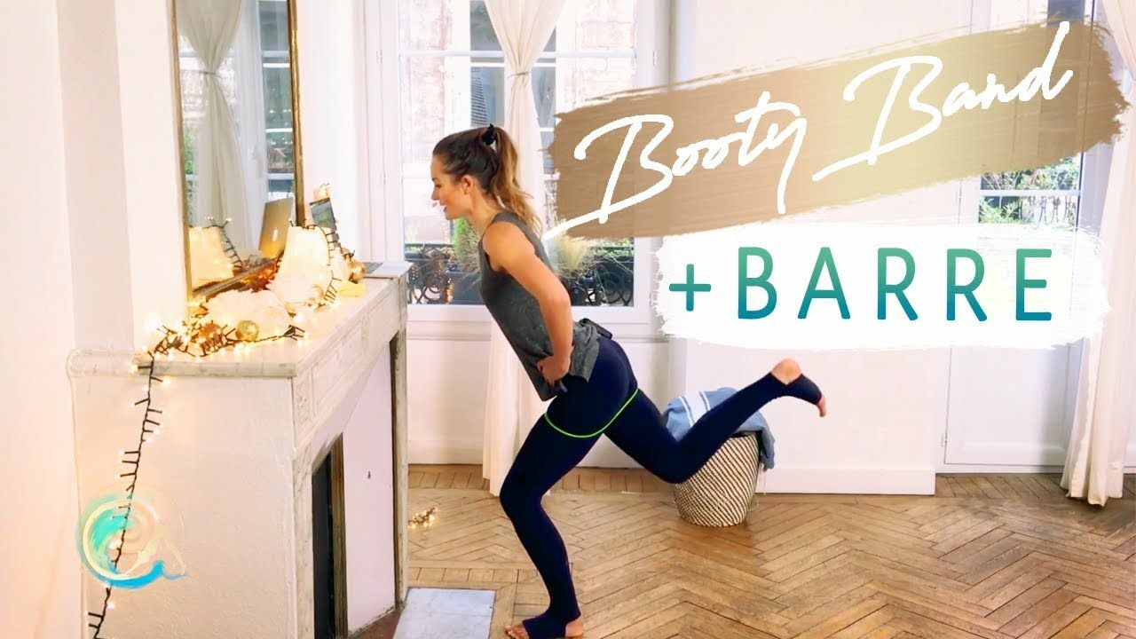 Barre workout with booty bands for butt and thighs #pilatesvideo