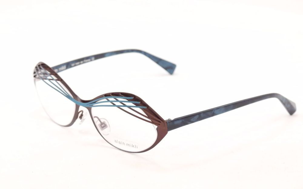 Authentic New Alain Mikli Eyeglasses AL1290 MO4Z Brown Blue Metal ...