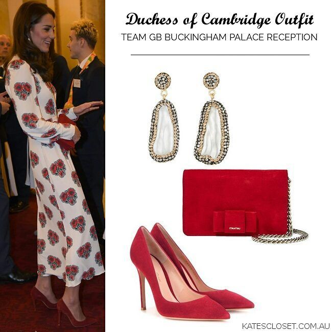 10/18/16 ♛ Team GB Medalist Reception ♥ WKW Alexander McQueen Poppy Print Midi Dress ($3075)♥ Gianvito Rossi '105′ Suede Pumps in Red ($675) ♥ Miu Miu Bow Embellished Suede Clutch ($895) ♥ Soru Baroque Doubled Sided Pearl Earrings ($160) ♥