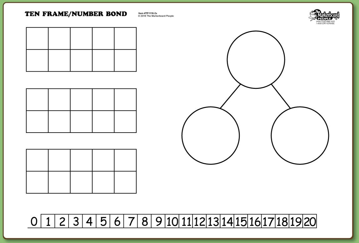 Ten Frames Number Bond Double Sided Dry Erase 11 X 16