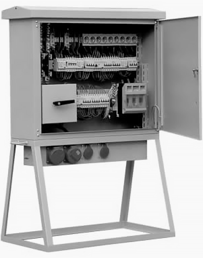 Temporary power supply switchboard for contruction site