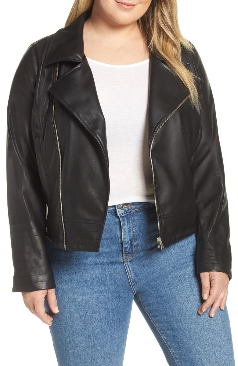 Halogen® Quilted Faux Leather Moto Jacket (Plus Size