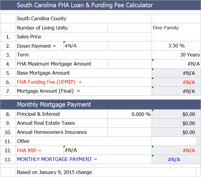 Fha Loan Calculator For South Carolina Fha Loans Fha Loan