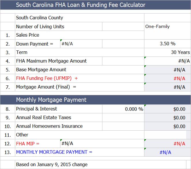 South Carolina Fha Mortgage Calculator Fha Loans Fha Loan Calculator Fha Mortgage