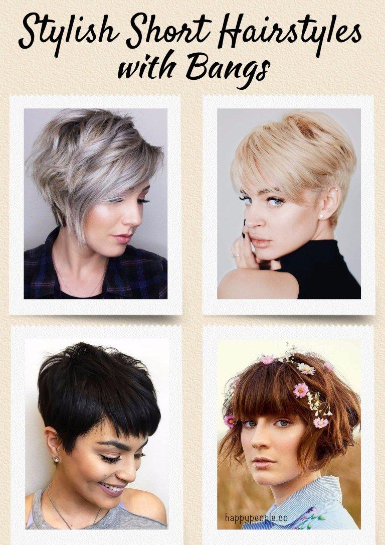 Most stylish short hair styles with bangs hair pinterest short