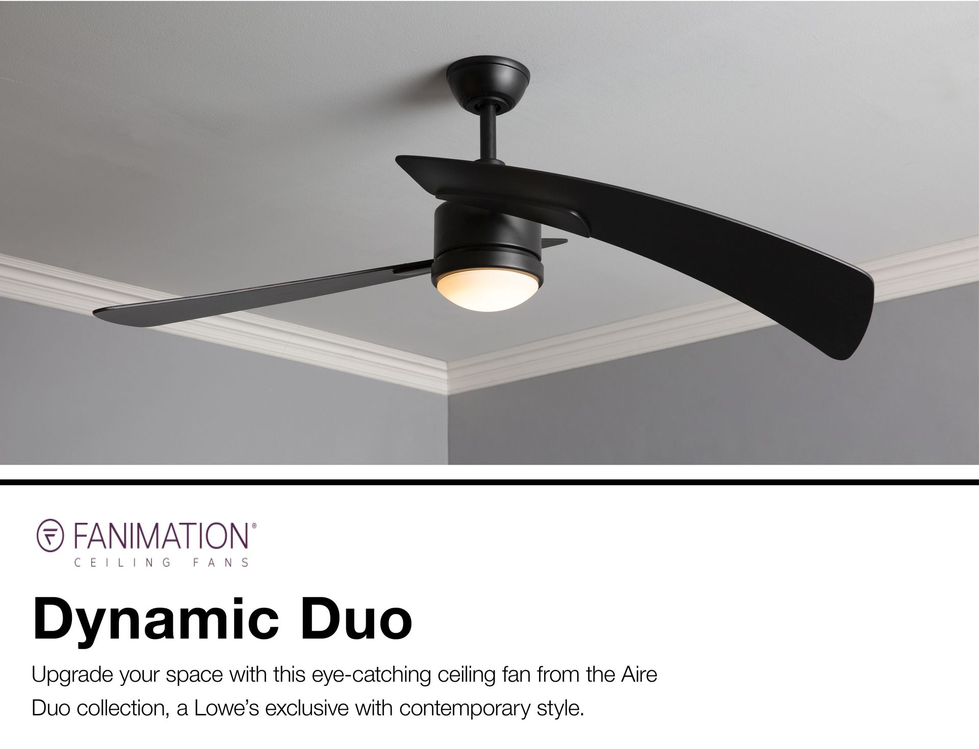 Fanimation Studio Collection Aire Duo 48 In Black Led Indoor Ceiling Fan With Light Kit And Remote 2 Blade At Lo Ceiling Fan With Light Ceiling Fan Fan Light