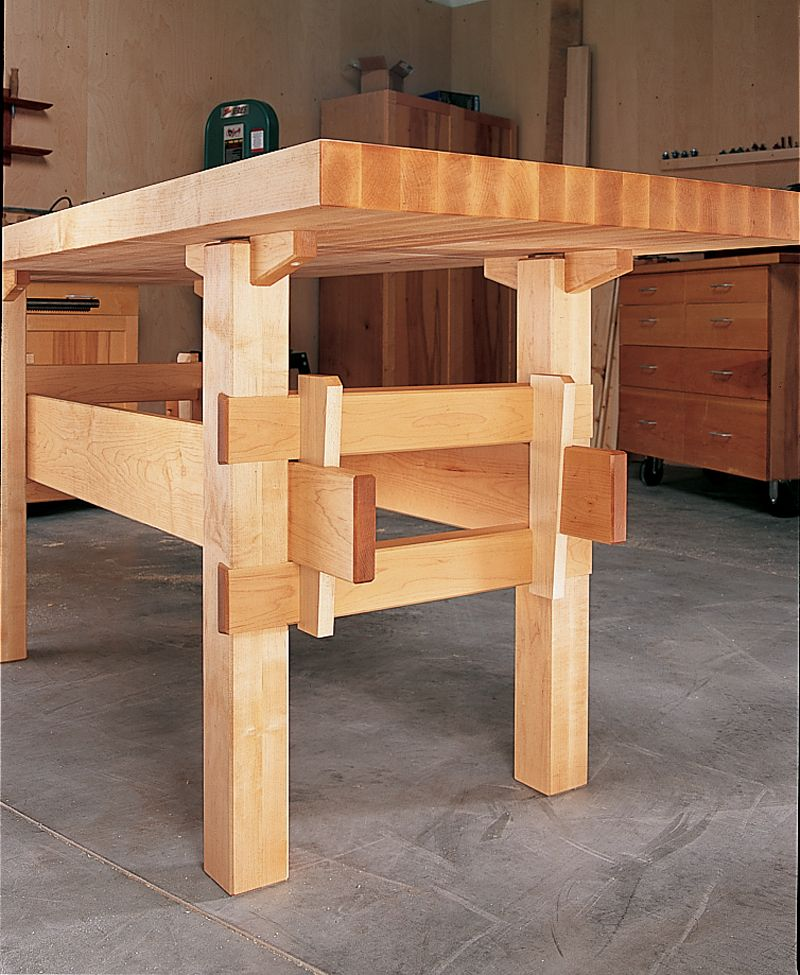 Wedged base workbench wedges joinery and woodworking for Working table design ideas