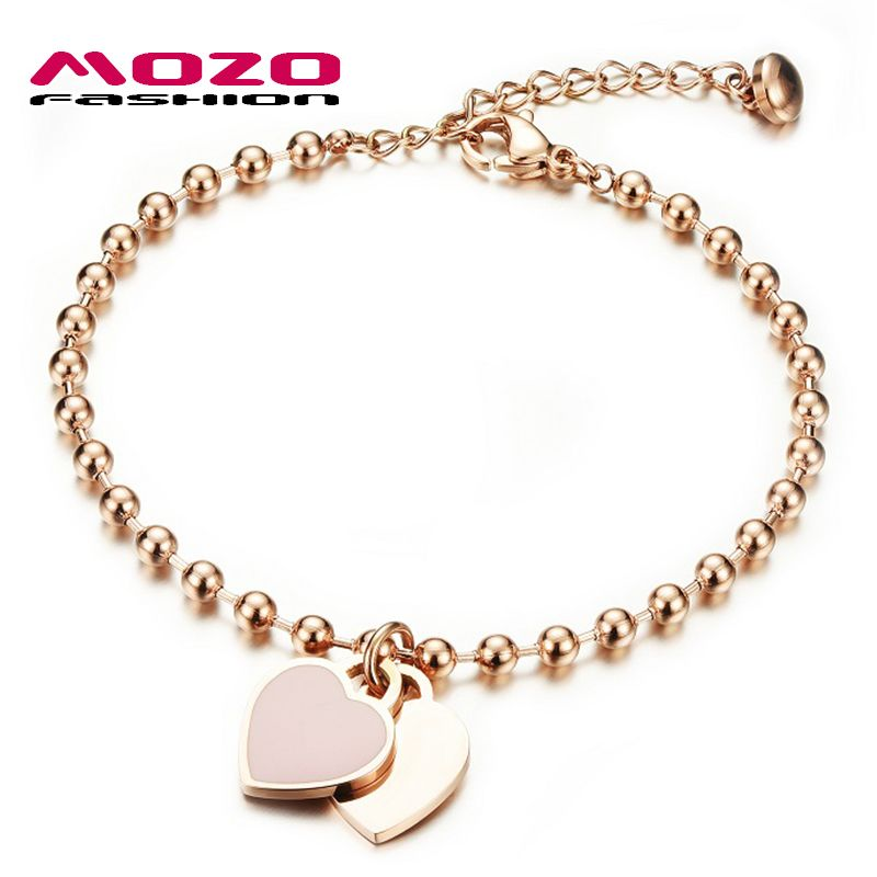 MOZO MODE Vrouw Party Sieraden Dubbele Hart Hanger Rose Vergulde Rvs Armband Bead Chain Vrouwen Armband MGS807