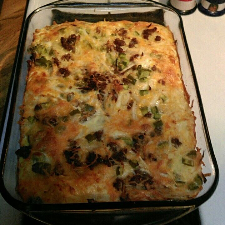 Egg bake or breakfast caserole   Just hashbrown, onion and green peppers, cheese and sausage poor eggs on top and cook in stove for an hour.