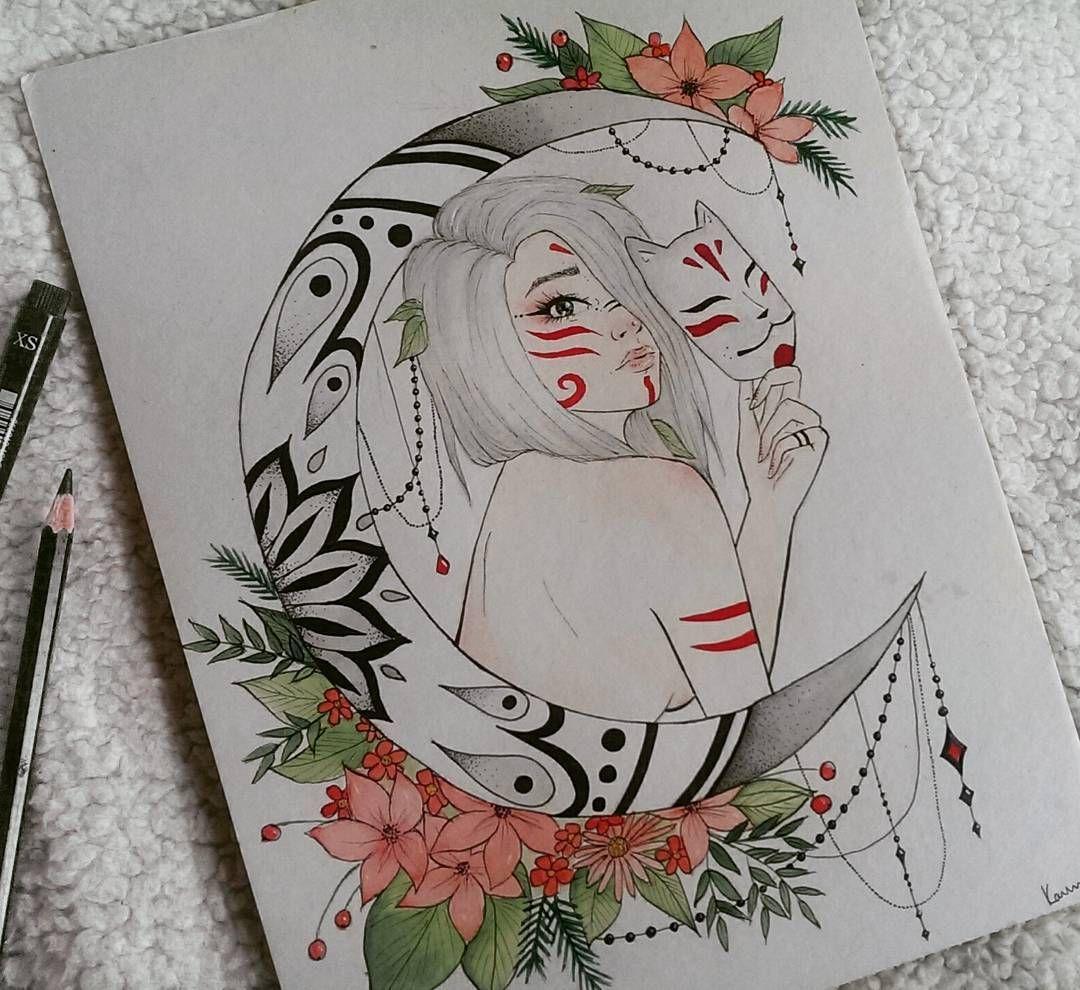 kitsune tattoo design anime manga fuchs mandala my art pinterest. Black Bedroom Furniture Sets. Home Design Ideas