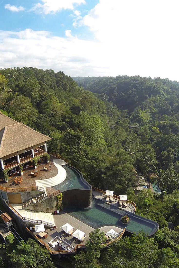 Ubud Hanging Gardens Hotel Bali Pool Aerial Piscinas Bali