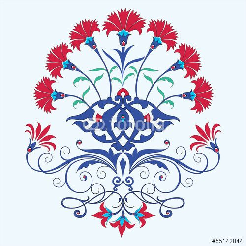 Traditional Turkish Ottoman Red Flower Home Decor Mosaic: Vector: Traditional Ottoman Carnation Chine Design