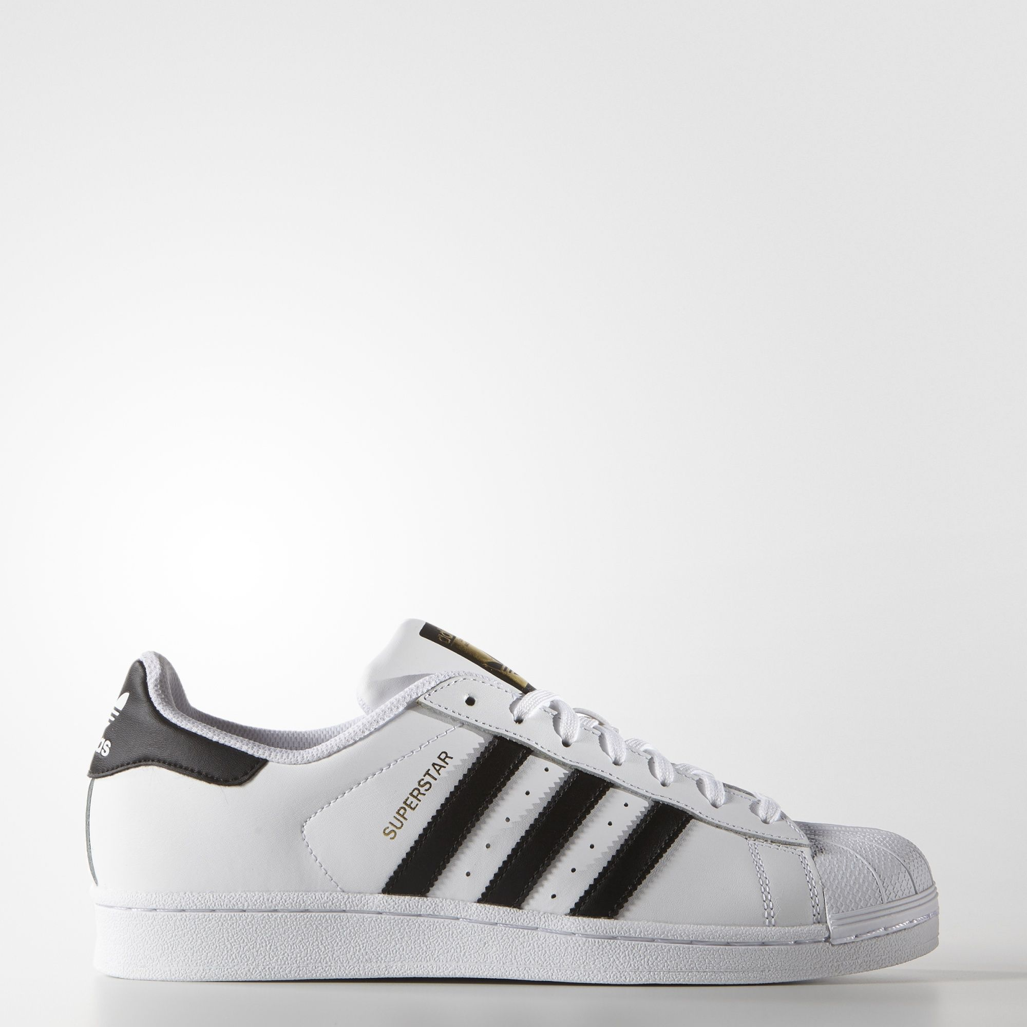 ADIDAS ORIGINALS Men 's Old School Trefoil Leather Shell Toe White Sneakers Shoes