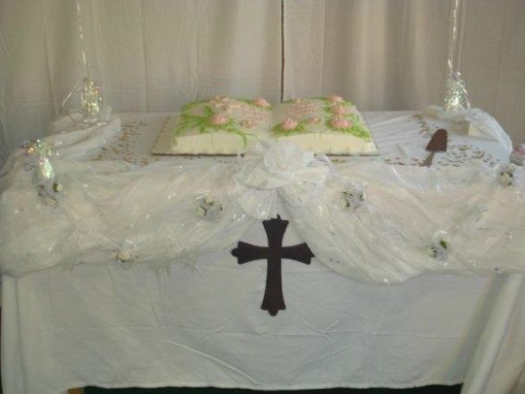 Baptism joint boy girl decorations cake table setup