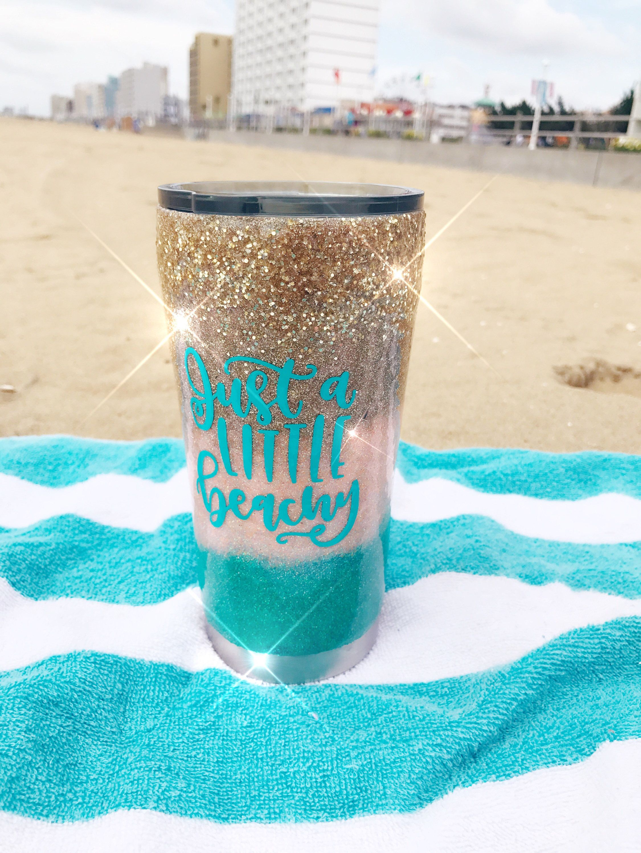 Custom Glitter Tumbler Cup Beach Ocean Sea Shell Mermaid Handmade Insulated
