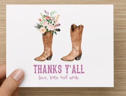 Bridal Shower Thank You Card Cowboy And Cowgirl Themed Boots Personalized Multiple Pack