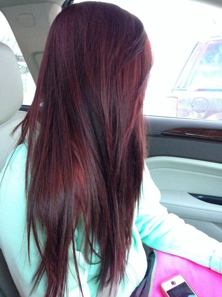 straight burgundy plum brown hair color white nice sweater for