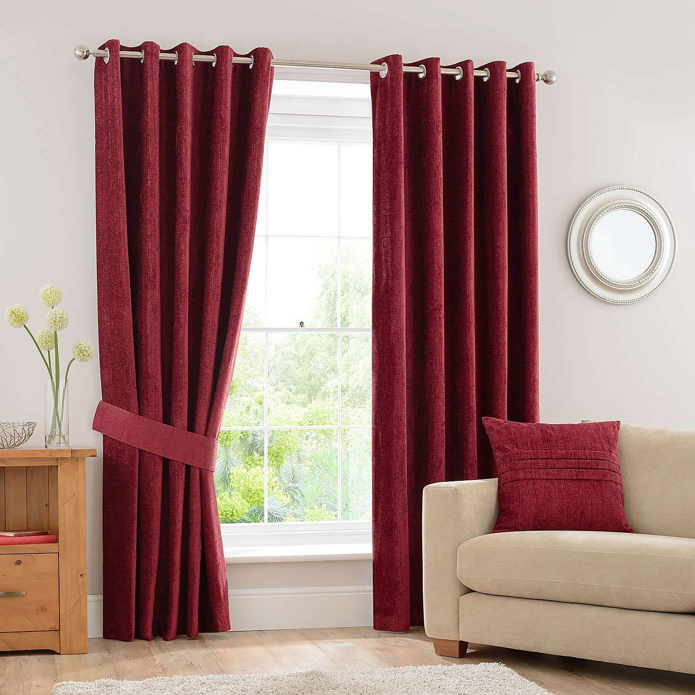 Chenille Wine Eyelet Curtains Red Curtains Living Room Curtains Living Room Pleated Curtains #wine #curtains #for #living #room