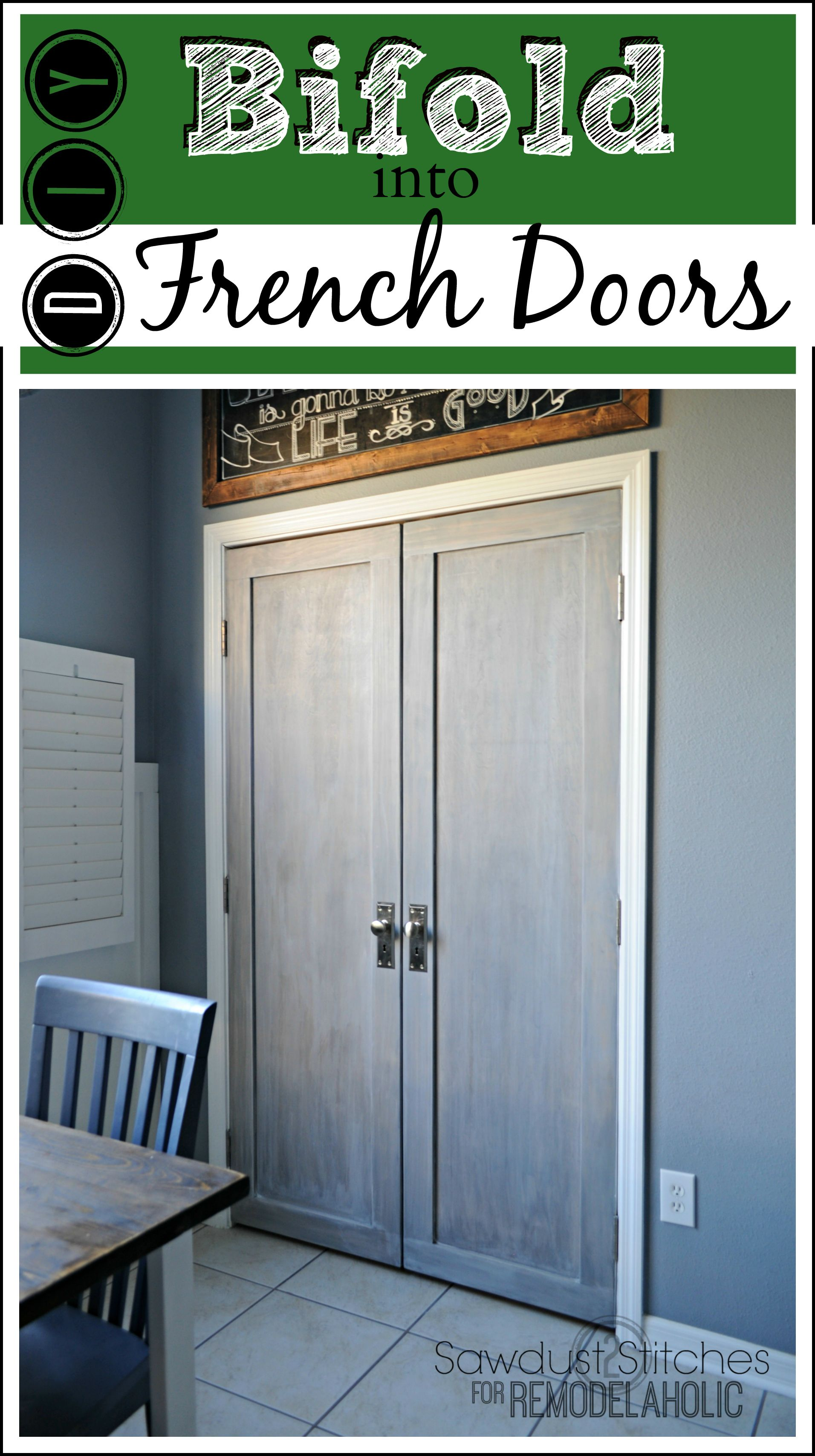 Builder Basic Bifold Door Makeover Into Stylish French Doors Tutorial From Sawdust2stitches On Remodela Bifold Doors Makeover Door Makeover Diy Bifold Doors