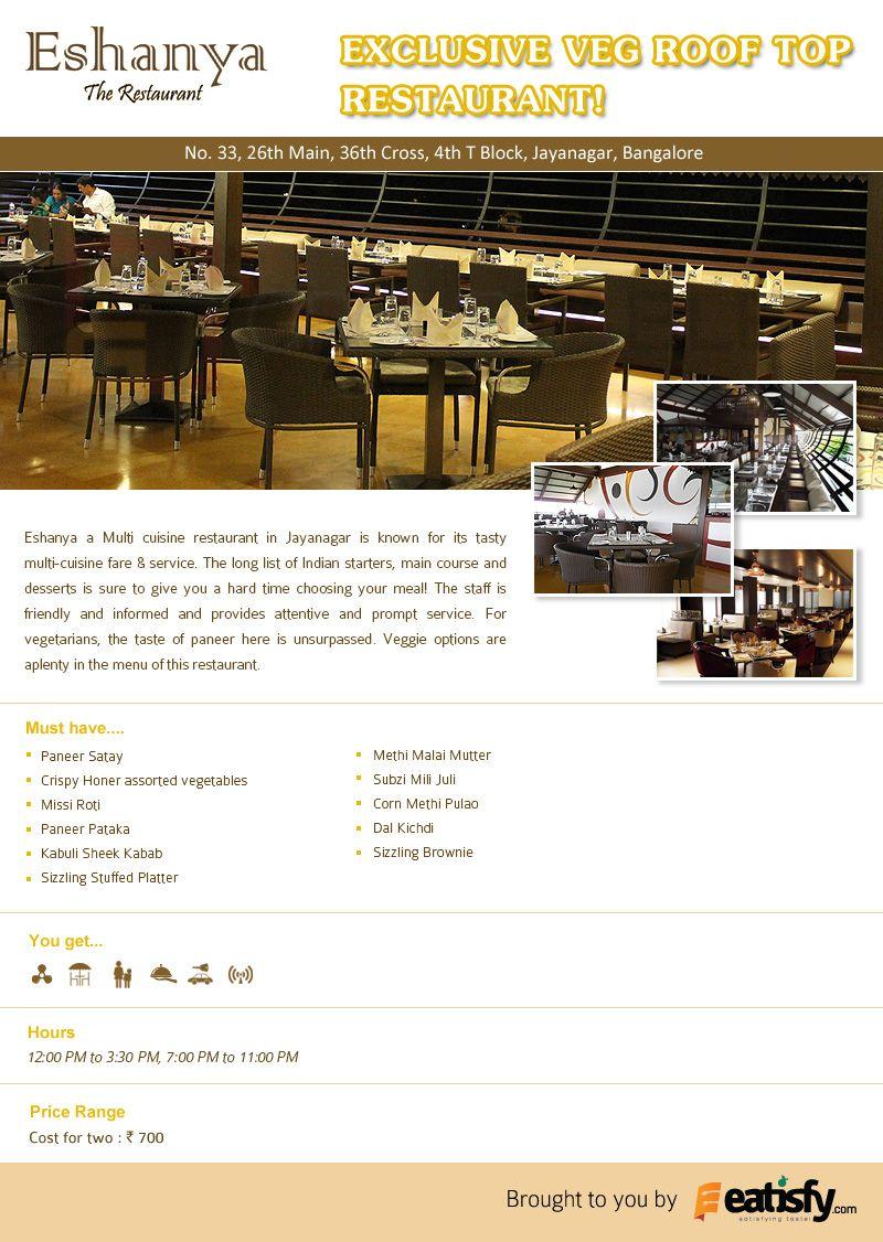 Eshanya The New And Happening Veg Dining Restaurant In Jayanagar Veg Restaurant Dining