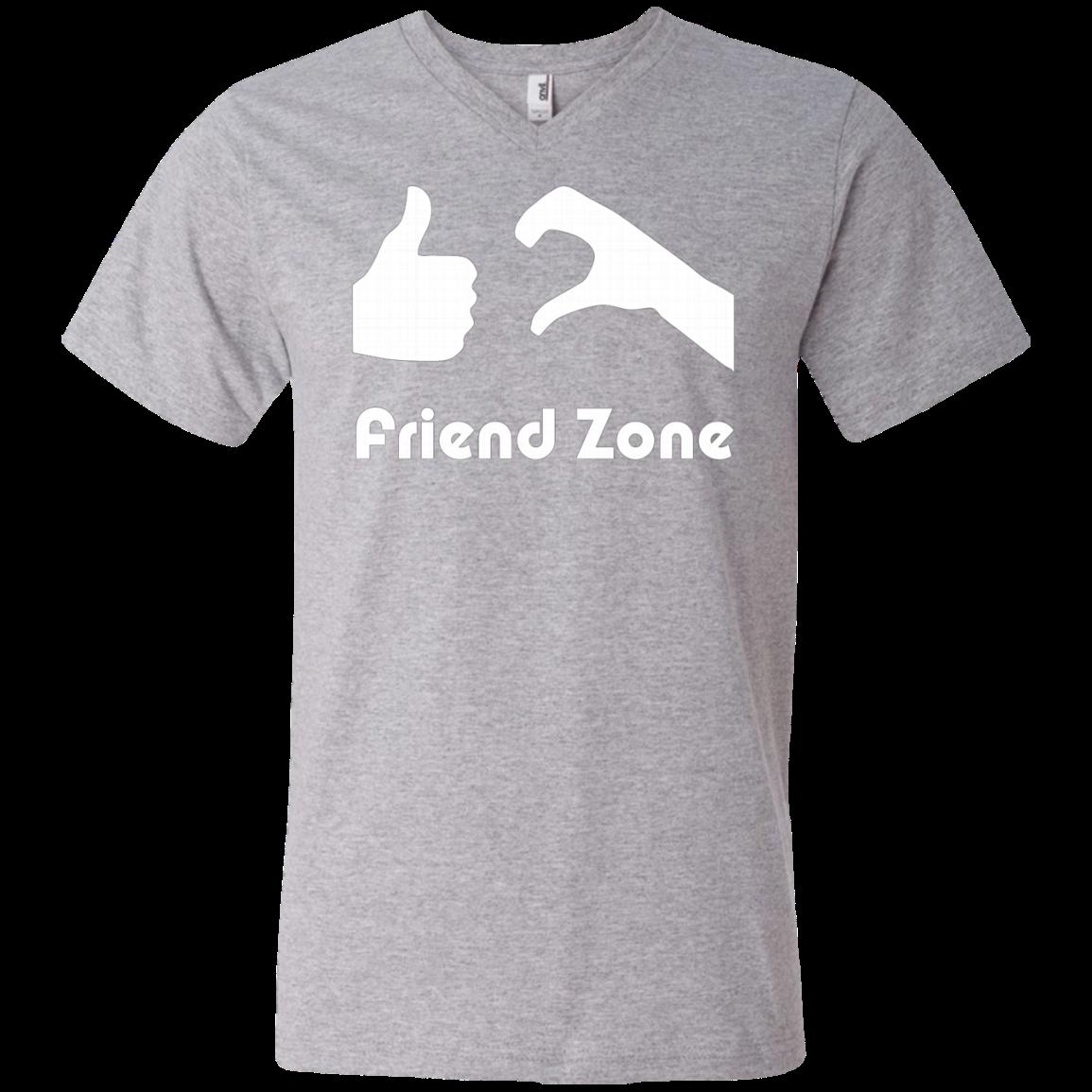 Friend Zone AT0060 982 Men's Printed V-Neck T-Shirt - Heather Grey / L